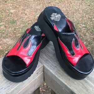 Harley Davidson Red/ Black Flame Platform Slides